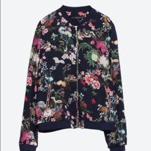 Zara Oriental Print Bomber Jacket Size M
